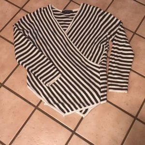 Striped faux wrapped sweater
